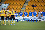 St Johnstone v Livingston.....30.11.13     Scottish Cup 4th Round<br /> The players observe a minutes silence before kick off in memory of the victims of the Police Scotland helicopter crash in Glasgow.<br /> Picture by Graeme Hart.<br /> Copyright Perthshire Picture Agency<br /> Tel: 01738 623350  Mobile: 07990 594431