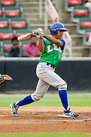 Raul Mondesi (2) of the Lexington Legends follows through on his swing against the Kannapolis Intimidators at CMC-Northeast Stadium on July 30, 2013 in Kannapolis, North Carolina.  The Legends defeated the Intimidators 1-0.  (Brian Westerholt/Four Seam Images)
