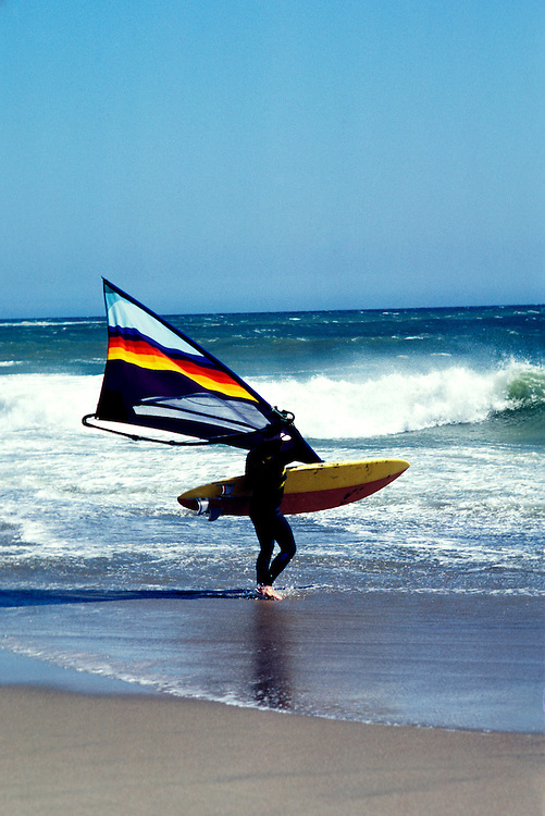 CA: Windsurfer at Waddell Beach in San Mateo County   .Photo: cabea2103..Photo copyright: Lee Foster, 510-549-2202, lee@fostertravel.com, www.fostertravel.com
