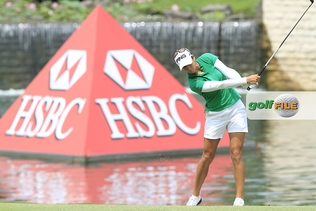 Azahara Munoz (ESP) on the 18th fairway during Round 3 of the HSBC Women's Champions at the Sentosa Golf Club, The Serapong Course in Singapore on Saturday 7th March 2015.<br /> Picture:  Thos Caffrey / www.golffile.ie