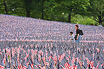 Woman and boy walking through field of American flags.