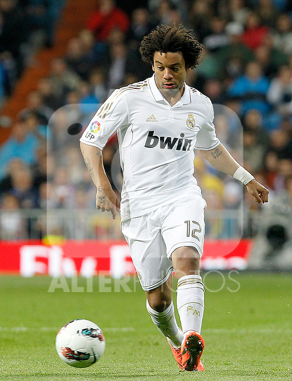 Real Madrid's  Marcelo Vieira during La Liga match.April 14,2012. (ALTERPHOTOS/Acero)