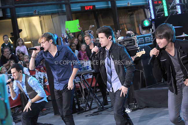 WWW.ACEPIXS.COM . . . . . .October 11, 2010, New York City....Carlos Pena, Logan Henderson, James Maslow and Kendall Schmidt of Nickelodeon's Big Time Rush perform on the Today Show at Rockefeller Center on October 11, 2010 in New York City....Please byline: KRISTIN CALLAHAN - ACEPIXS.COM.. . . . . . ..Ace Pictures, Inc: ..tel: (212) 243 8787 or (646) 769 0430..e-mail: info@acepixs.com..web: http://www.acepixs.com .