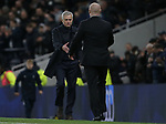 Tottenham's Head Coach Jose Mourinho and Burnley's manager Sean Dyche shake hands after the Premier League match at the Tottenham Hotspur Stadium, London. Picture date: 7th December 2019. Picture credit should read: Paul Terry/Sportimage