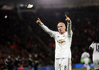 Pictured: Jonjo Shelvey of Swansea celebrating his goal Sunday 01 February 2015<br /> Re: Premier League Southampton v Swansea City FC at ST Mary's Ground, Southampton, UK.