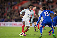 Nathaniel Chalobah (Chelsea) of England plays a pass during the Under 21 International Friendly match between England and Italy at St Mary's Stadium, Southampton, England on 10 November 2016. Photo by Andy Rowland.