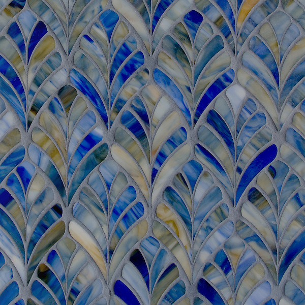 "19"" x 19"" Margot, a jewel glass waterjet mosaic, is shown in Blue Onyx."