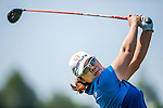 Min-Young Lee of Korea plays a shot during the Hyundai China Ladies Open 2014 at World Cup Course in Mission Hills Shenzhen on December 14 2014, in Shenzhen, China. Photo by Xaume Olleros / Power Sport Images