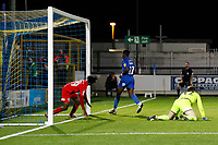GOAL - Michael Folivi of AFC Wimbledon makes it 2-0 during the The Leasing.com Trophy match between AFC Wimbledon and Leyton Orient at the Cherry Red Records Stadium, Kingston, England on 8 October 2019. Photo by Carlton Myrie / PRiME Media Images.