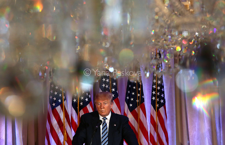 U.S. Presidential candidate Donald Trump (R-NY) speaks at Mar-a-Lago resort in Palm Beach, FL, on March 11, 2016. Former candidate Ben Carson endorsed Trump during that day's press conference. <br /> <br /> Photo by: Yana Paskova