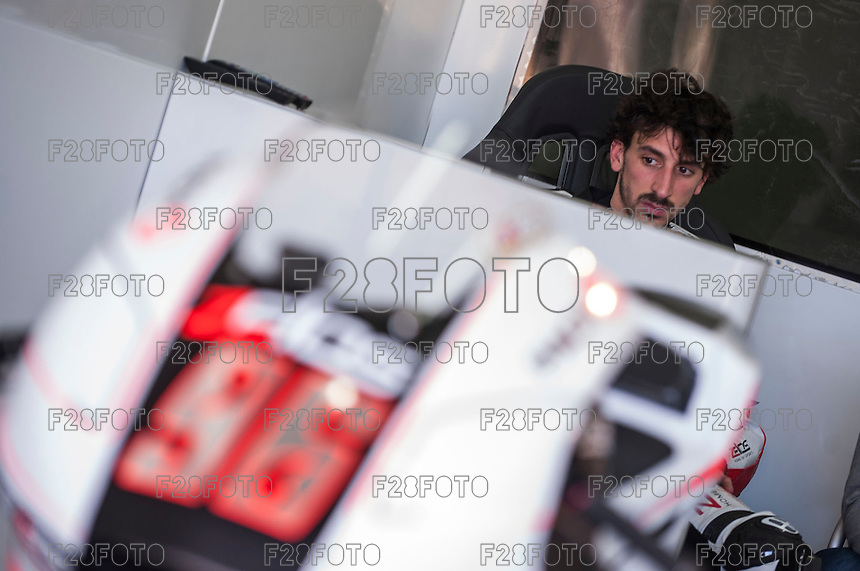 Louis Rossi in his box at pre season winter test IRTA Moto3 & Moto2 at Ricardo Tormo circuit in Valencia (Spain), 11-12-13 February 2014