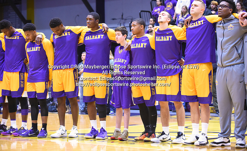 Albany defeats Siena 81-72 for the Albany Cup on November 27, 2016 at SEFCU Arena in Albany, New York.  (Bob Mayberger/Eclipse Sportswire)