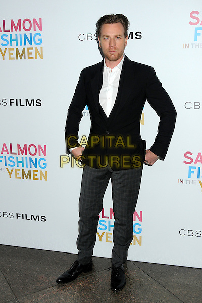 Ewan McGregor.CBS Films' U.S. Premiere of 'Salmon Fishing In The Yemen' held at The Directors Guild of America in West Hollywood, California, USA..March 5th, 2012.full length jacket suit stubble facial hair white black grey gray trousers .CAP/ADM/BP.©Byron Purvis/AdMedia/Capital Pictures.
