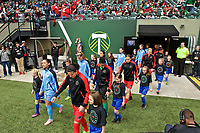 Portland, OR - Saturday April 29, 2017: Thorns and Red Stars enter the pitch prior to a regular season National Women's Soccer League (NWSL) match between the Portland Thorns FC and the Chicago Red Stars at Providence Park.