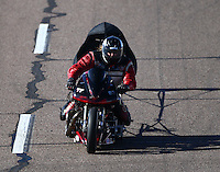 Feb 27, 2016; Chandler, AZ, USA; NHRA top fuel Harley motorcycle rider XXXX during qualifying for the Carquest Nationals at Wild Horse Pass Motorsports Park. Mandatory Credit: Mark J. Rebilas-