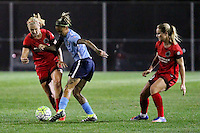 Piscataway, NJ - Sunday Sept. 25, 2016: Lindsey Horan, Tasha Kai, Amandine Henry during a regular season National Women's Soccer League (NWSL) match between Sky Blue FC and the Portland Thorns FC at Yurcak Field.