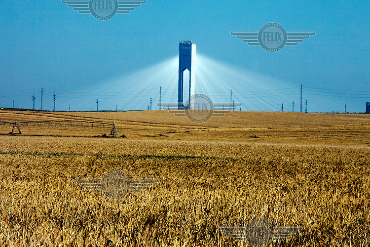 The power tower at the Planta Solar 20 (PS 20) concentrating solar power (CSP) project. PS 20 produces 20 megawatts of electrity and its tower, at 160 metres, is the world's tallest. The plant began electricity production in 2009 and is operated by Abengoa Solar.