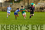 Kerrry's Miriam O'Keeffe about to shoot as Carragh McCarthy of Waterford is about to tackle in the LGFA National football league in Strand Road on Saturday.