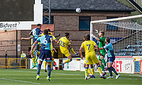 Nathan Tyson of Wycombe Wanderers heads a hot at goal during the Friendly match between Wycombe Wanderers and AFC Wimbledon at Adams Park, High Wycombe, England on 25 July 2017. Photo by Andy Rowland.