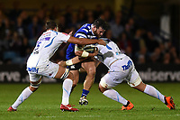 Nathan Catt of Bath Rugby is double-tackled. Gallagher Premiership match, between Bath Rugby and Exeter Chiefs on October 5, 2018 at the Recreation Ground in Bath, England. Photo by: Patrick Khachfe / Onside Images