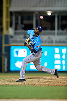 Amarillo Sod Poodles pitcher Dauris Valdez (22) during a Texas League game against the Frisco RoughRiders on July 13, 2019 at Dr Pepper Ballpark in Frisco, Texas.  (Mike Augustin/Four Seam Images)