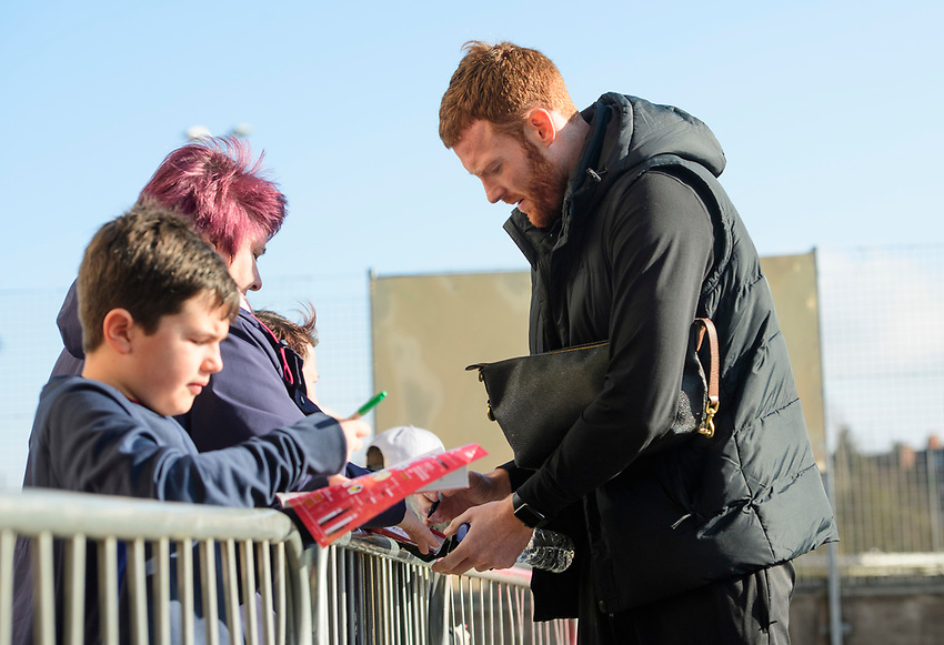 Lincoln City's Cian Bolger signs autographs for fans after arriving at the ground<br /> <br /> Photographer Chris Vaughan/CameraSport<br /> <br /> The EFL Sky Bet League Two - Lincoln City v Stevenage - Saturday 16th February 2019 - Sincil Bank - Lincoln<br /> <br /> World Copyright © 2019 CameraSport. All rights reserved. 43 Linden Ave. Countesthorpe. Leicester. England. LE8 5PG - Tel: +44 (0) 116 277 4147 - admin@camerasport.com - www.camerasport.com