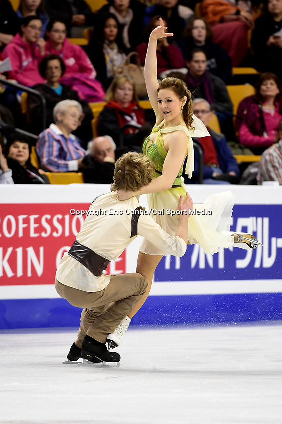 Thursday, March 31, 2016: Barbora Silna and Juri Kurakin (AUT) compete in the Free Dance program at the International Skating Union World Championship held at TD Garden, in Boston, Massachusetts. Eric Canha/CSM