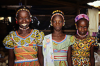 Tortiya, Ivory Coast, Cote d'Ivoire, Africa - Fulani Girls in Colorful Dresses.