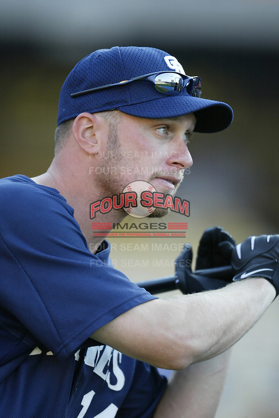 Mark Kotsay of the San Diego Padres before a 2002 MLB season game against the Los Angeles Dodgers at Dodger Stadium, in Los Angeles, California. (Larry Goren/Four Seam Images)