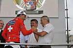 Swiss National Champion Fabian Cancellara (SUI) Team Saxo Bank being congratulated by former Irish winner Stephen Roche after he wins the Prologue Stage 1 of the 2009 Tour de France a 15.5km individual time trial held around Monaco. 4th July 2009 (Photo by Eoin Clarke/NEWSFILE)