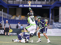 Annapolis, MD - July 7, 2018: New York Lizards Thomas Kelly (26) wins the faceoff during the game between New York Lizards and Chesapeake Bayhawks at Navy-Marine Corps Memorial Stadium in Annapolis, MD.   (Photo by Elliott Brown/Media Images International)