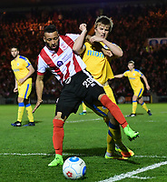 Lincoln City's Nathan Arnold shields the ball from Chester's Ryan Lloyd<br /> <br /> Photographer Chris Vaughan/CameraSport<br /> <br /> Vanarama National League - Lincoln City v Chester - Tuesday 11th April 2017 - Sincil Bank - Lincoln<br /> <br /> World Copyright &copy; 2017 CameraSport. All rights reserved. 43 Linden Ave. Countesthorpe. Leicester. England. LE8 5PG - Tel: +44 (0) 116 277 4147 - admin@camerasport.com - www.camerasport.com