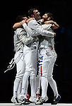 LONDON, ENGLAND - AUGUST 3:  during the Men's Fencing Team Sabre Bronze and Gold  Medal Final Day 7 of the London 2012 Olympic Games on August 3, 2012 at the Excell Center in London, England. (Photo by Donald Miralle)
