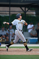GCL Pirates first baseman Mason Martin (22) hits a home run during a game against the GCL Blue Jays on July 20, 2017 at Bobby Mattick Training Center at Englebert Complex in Dunedin, Florida.  GCL Pirates defeated the GCL Blue Jays 11-6 in eleven innings.  (Mike Janes/Four Seam Images)