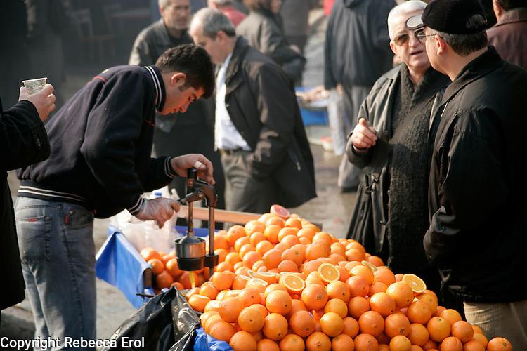 Fresh orange juice seller, Istanbul, Turkey