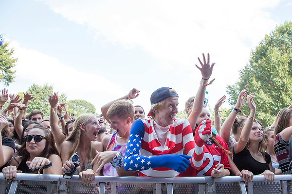 Music Midtown fans await pop band AJR on the Cotton Club Stage Saturday in Piedmont Park.