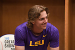 OMAHA, NE - JUNE 26: Zach Watson (9) of Louisiana State University smiles in the locker room before his team takes on the University of Florida during the Division I Men's Baseball Championship held at TD Ameritrade Park on June 26, 2017 in Omaha, Nebraska. The University of Florida defeated Louisiana State University 4-3 in game one of the best of three series. (Photo by Jamie Schwaberow/NCAA Photos via Getty Images)