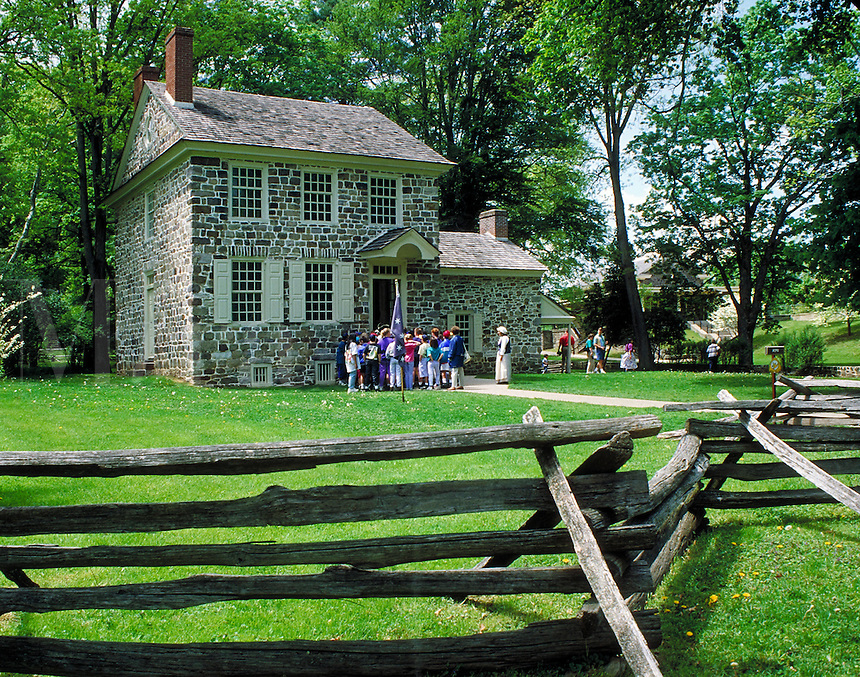 tourists outside of Washington's Headquarters at Valley Forge National Historic Park. tourists. Valley Forge Pennsylvania USA.