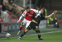 Fleetwood Town's Wes Burns  battles with AFC Wimbledon's Andy Barcham <br /> <br /> Photographer Mick Walker/CameraSport<br /> <br /> Emirates FA Cup Third Round - Fleetwood Town v AFC Wimbledon - Saturday 5th January 2019 - Highbury Stadium - Fleetwood<br />  <br /> World Copyright © 2019 CameraSport. All rights reserved. 43 Linden Ave. Countesthorpe. Leicester. England. LE8 5PG - Tel: +44 (0) 116 277 4147 - admin@camerasport.com - www.camerasport.com