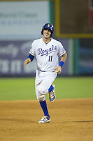 Michael Arroyo (11) of the Burlington Royals rounds the bases after hitting a 2-run home run against the Bluefield Blue Jays at Burlington Athletic Stadium on June 27, 2016 in Burlington, North Carolina.  The Royals defeated the Blue Jays 9-4.  (Brian Westerholt/Four Seam Images)