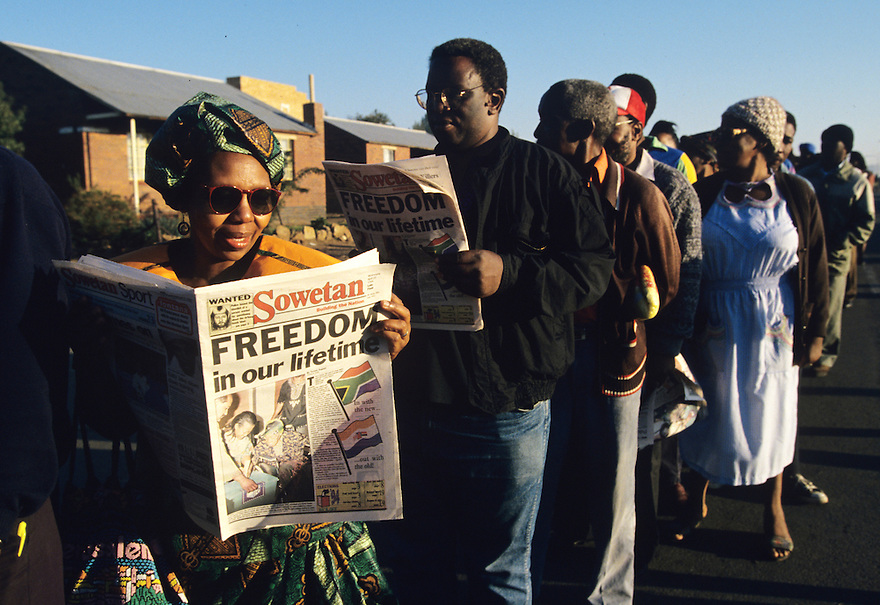 Millions of South Africans voted in the nation's first free and democratic general election,  marking the end of centuries of apartheid rule.  Nelson Mandela of the African National Congress (ANC) was elected as the first black President of South Africa.