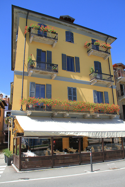 Restaurant along Lake Maggiore in Arona, lake district in northern Italy.