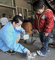 People are teste for radiation at the Azuma Sports Park outside that has been designated a shelter at Fukushima City, and area, 60 km from the from the Fukushima Daiichi Nuclear Power Plant. Plant was damaged dring the  Earhquake and following Tsunami that struck Japan 11th March 2011.<br /> <br /> photo by Richard Jones/ sinopix
