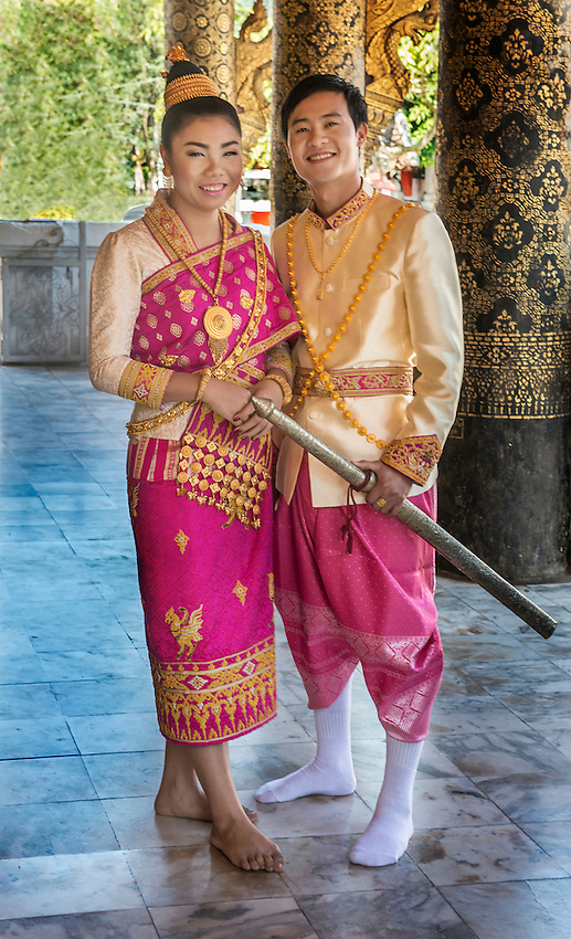 Lao Wedding Couple In Traditional Dress Phil Haber Photography
