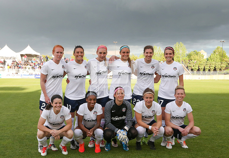 Boyds, MD - Saturday May 14, 2016: Washington Spirit starting eleven during a regular season National Women's Soccer League (NWSL) match at Maureen Hendricks Field, Maryland SoccerPlex. The Washington Spirit defeated the Houston Dash 1-0.