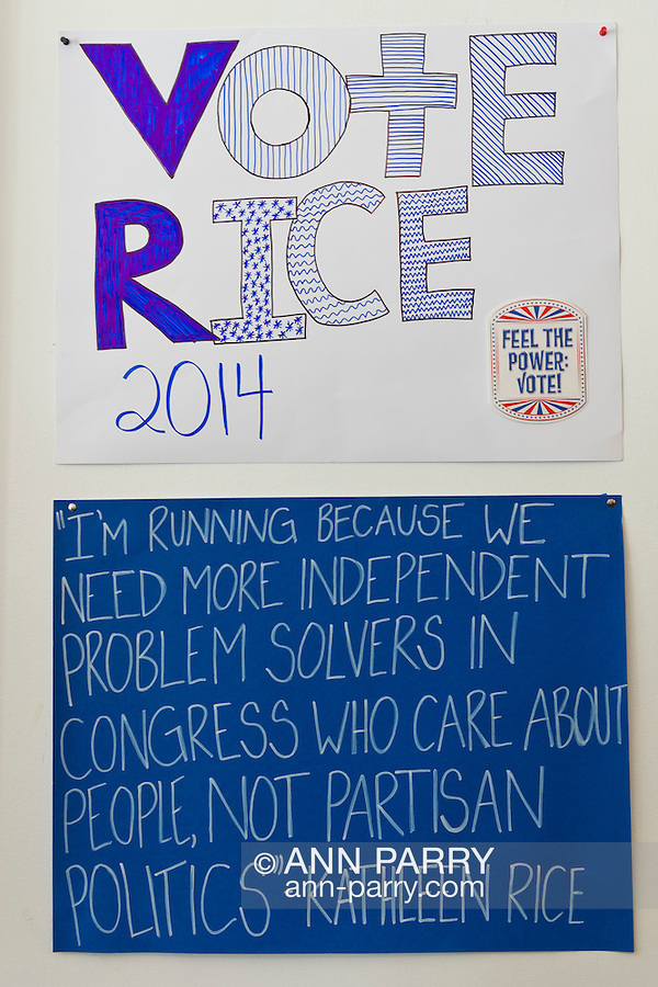 "Garden City South, New York, U.S. - August 11, 2014 - ""Vote Rice 2014 "" and ""I'm running because..."" signs on wall of Kathleen Rice's Campaign Office, 14"