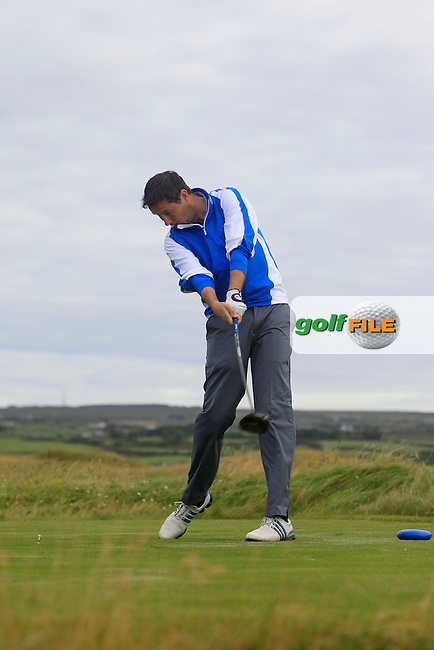 Karl Purcell (Dun Laoghaire) on the 2nd tee during Matchplay Round 1 of the South of Ireland Amateur Open Championship at LaHinch Golf Club on Friday 24th July 2015.<br /> Picture:  Golffile | Thos Caffrey