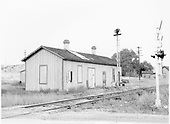 D&amp;RGW closed Poncha Junction depot, southwest corner.<br /> D&amp;RGW  Poncha Junction, CO  Taken by Graves, William A. - 1958