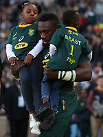 Tendai Mtawarira of South Africa on his 100th cap with his Children,Talumba Mtawarira, Wangu Mtawarira during the 2018 Castle Lager Incoming Series 2nd Test match between South Africa and England at the Toyota Stadium.Bloemfontein,South Africa. 16,06,2018 Photo by Steve Haag / stevehaagsports.com