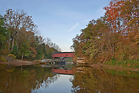 The Deers Mill Covered Bridge spans Sugar Creek in Shades State Park, Montgomery County, Indiana